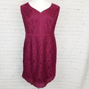 Adrianna Papell|Maroon Red Lace Sheath Dress